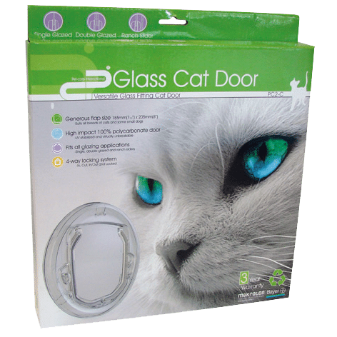 Cat door box with a picture of a cat and a front on picture of the cat door