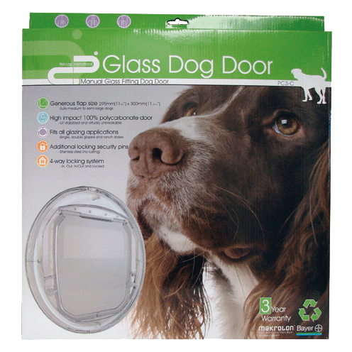 Dog Door Box with a picture of a dog and the front on view of the dog door